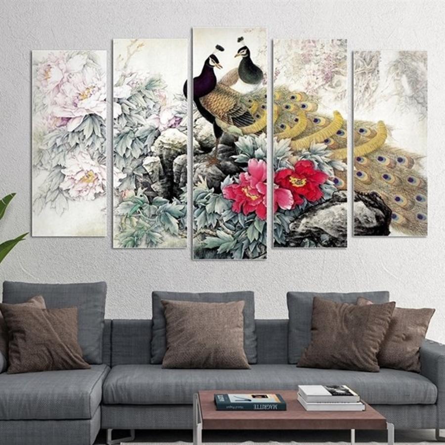 Tranh treo tường chim công và hoa mẫu đơn cách điệu (HG)