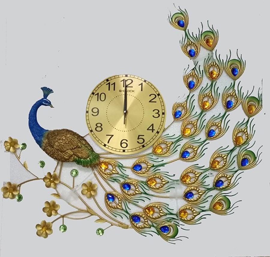 Đồng hồ treo tường chim công đính đá 4