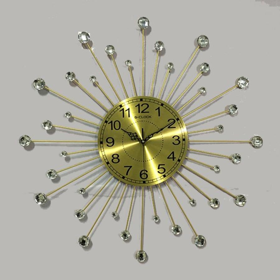 Đồng hồ treo tường đính đá mặt trời 2