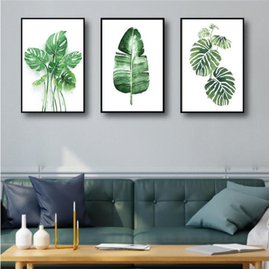 Tranh treo tường lá xanh nhiệt đới 3