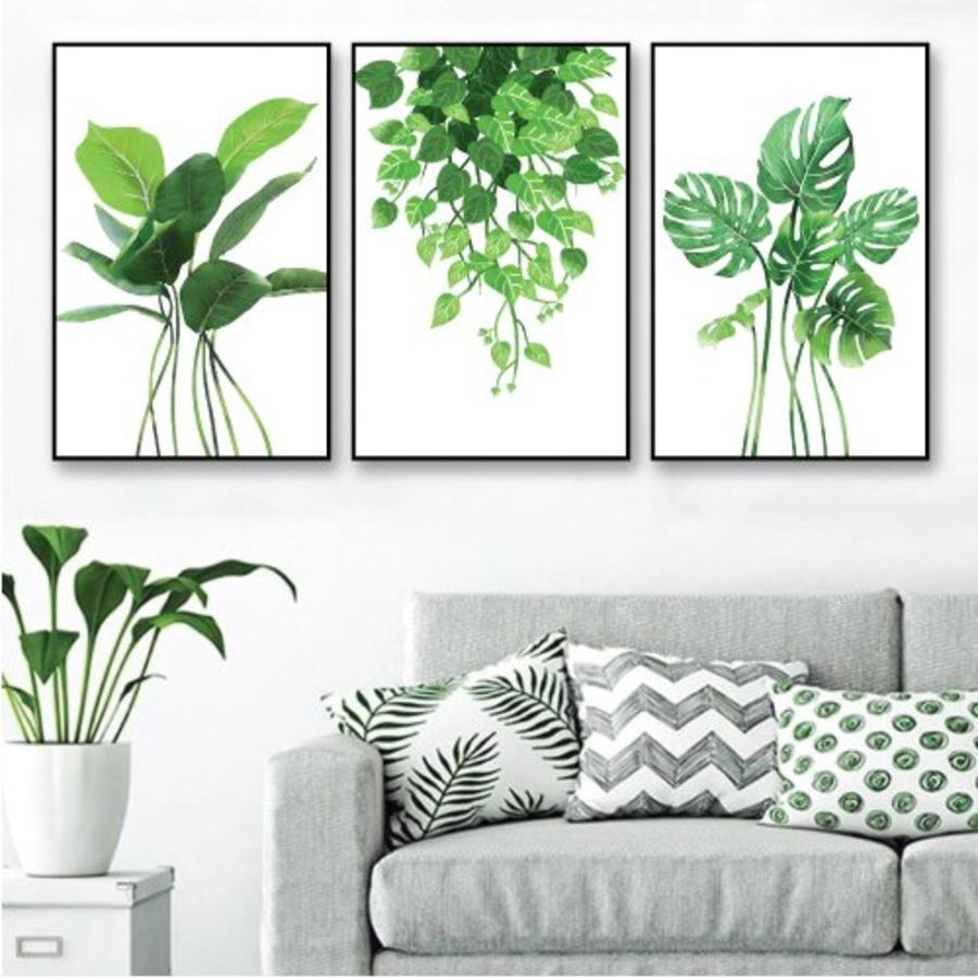 Tranh treo tường lá xanh nhiệt đới