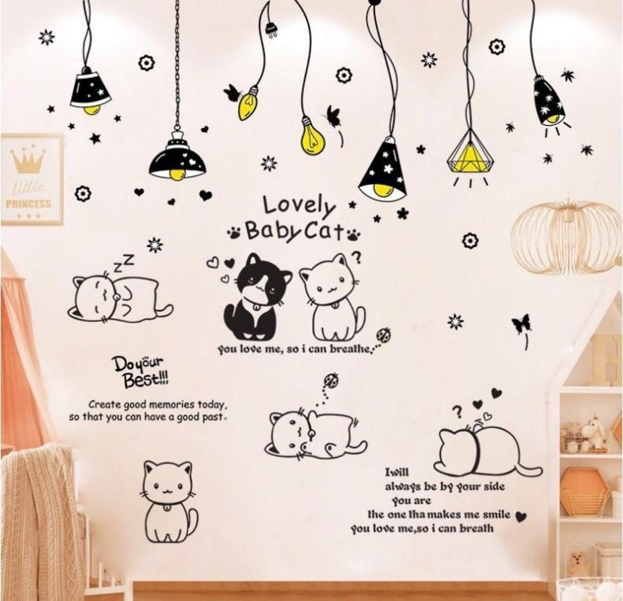 Combo decal dán tường chùm đèn nâu 3 và đàn mèo tinh nghịch