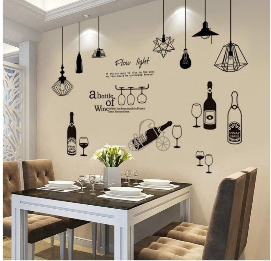 Combo decal dán tường chùm đèn trắng đen và chai rượu to