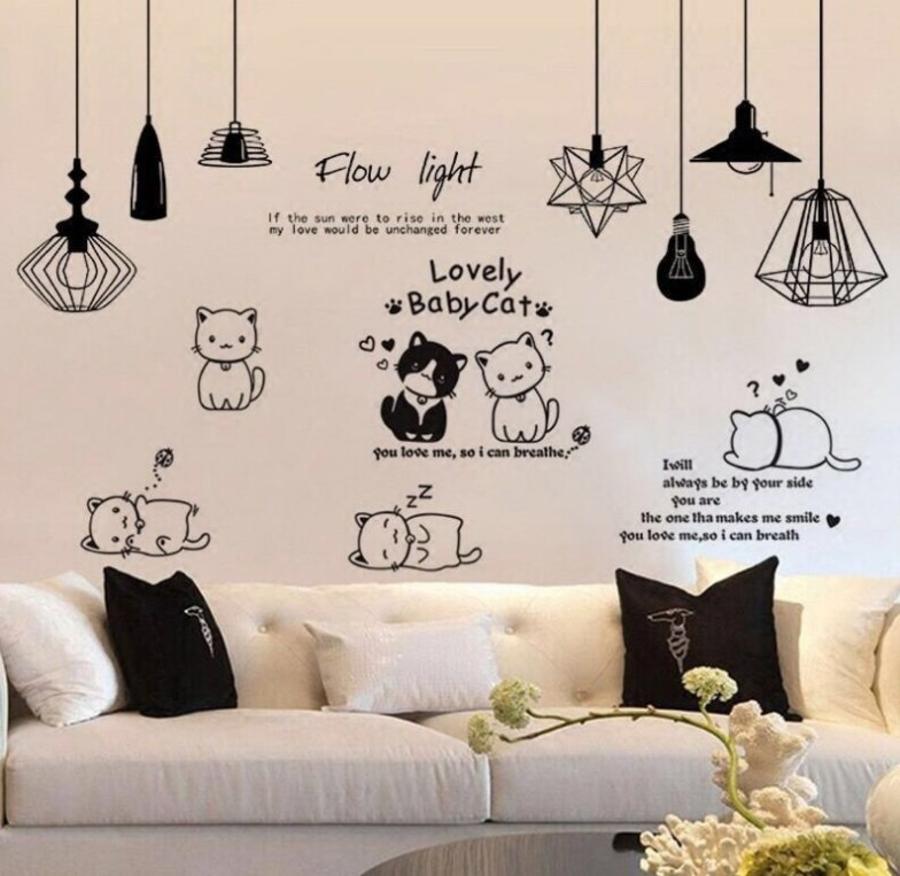 Combo decal dán tường chùm đèn trắng đen và đàn mèo tinh nghịch