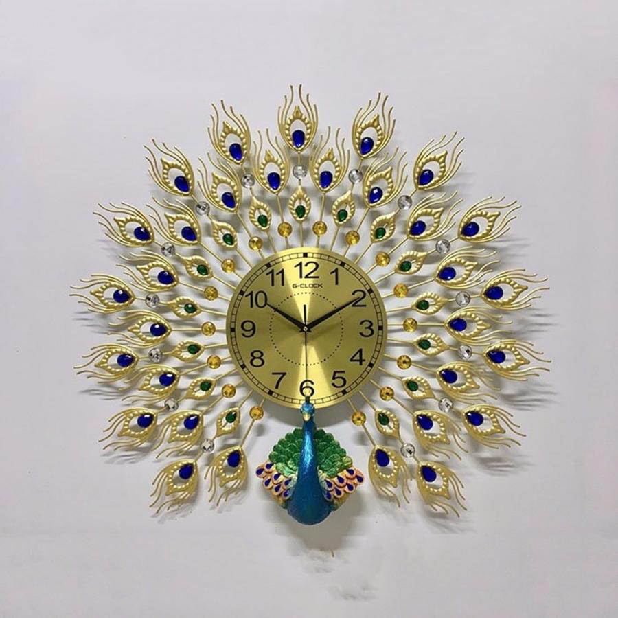 Đồng hồ đính đá chim công xanh 8