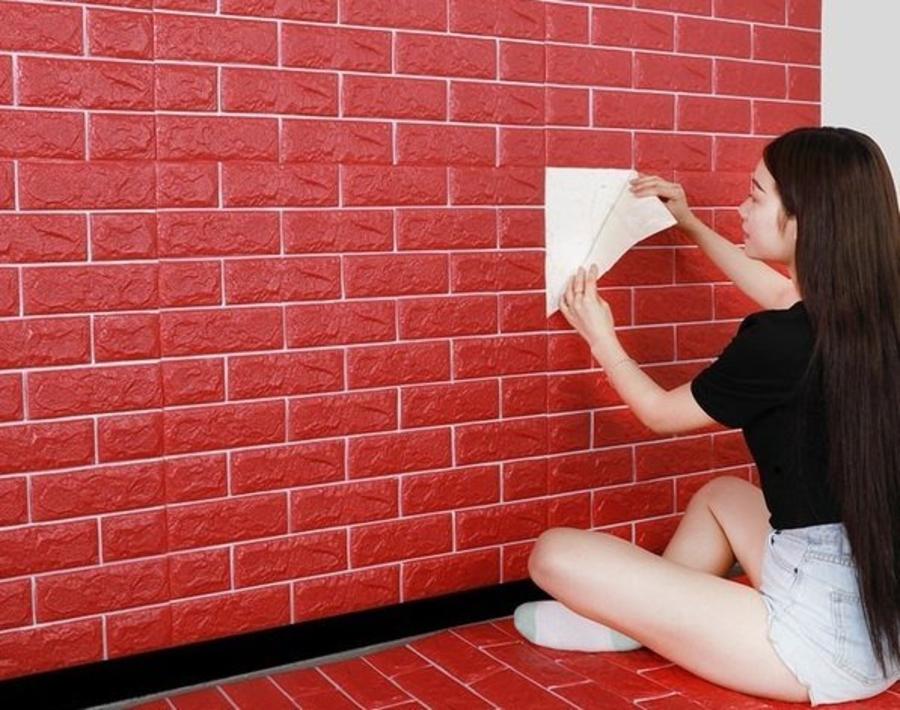 [Cao cấp] xốp đá dán tường 3D màu đỏ