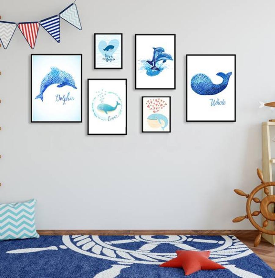 Bộ 6 tranh treo tường cá heo xanh (HG)