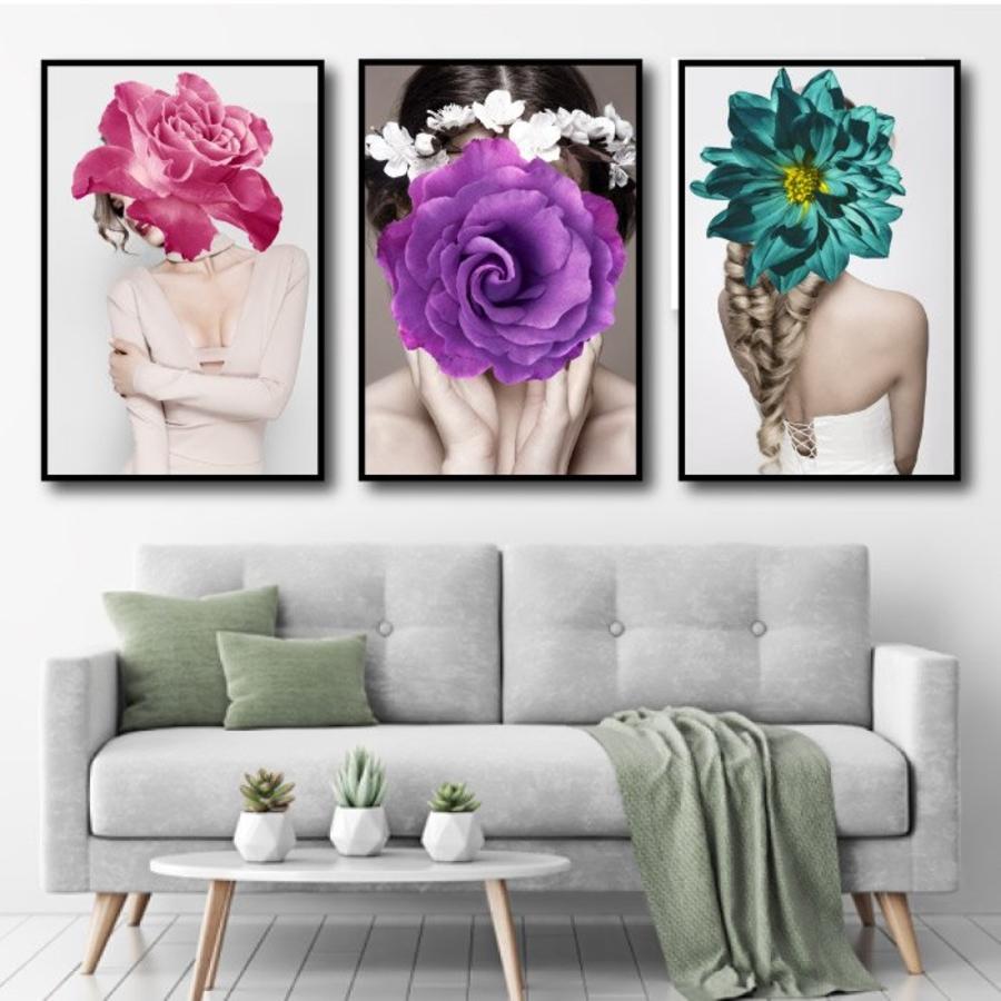 Tranh treo tường nghệ thuật hoa hồng tím