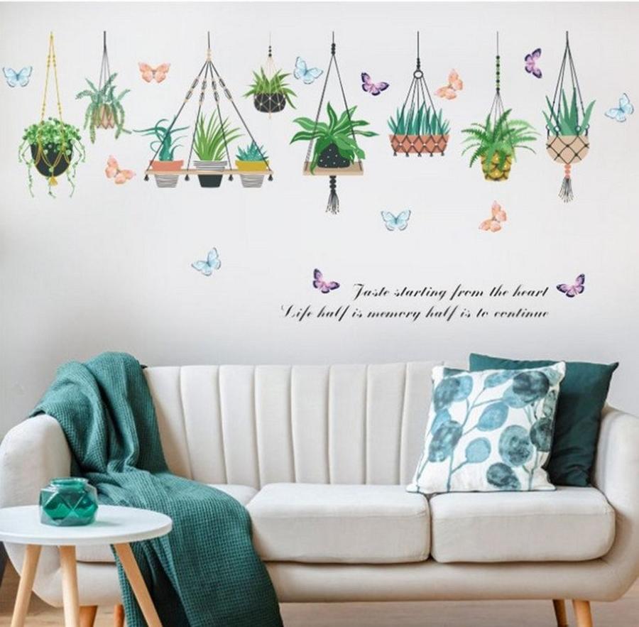 Decal dán tường các chậu cây xanh