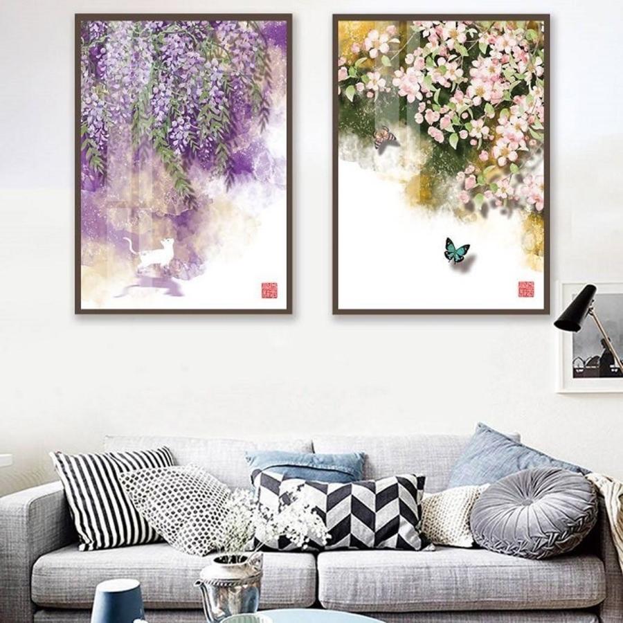 Tranh treo tường nghệ thuật cánh hoa trong gió (EU-10142)