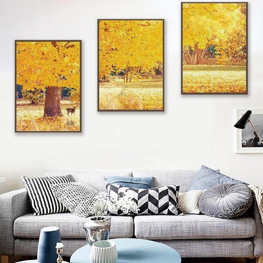 Tranh treo tường nghệ thuật lá vàng trời thu