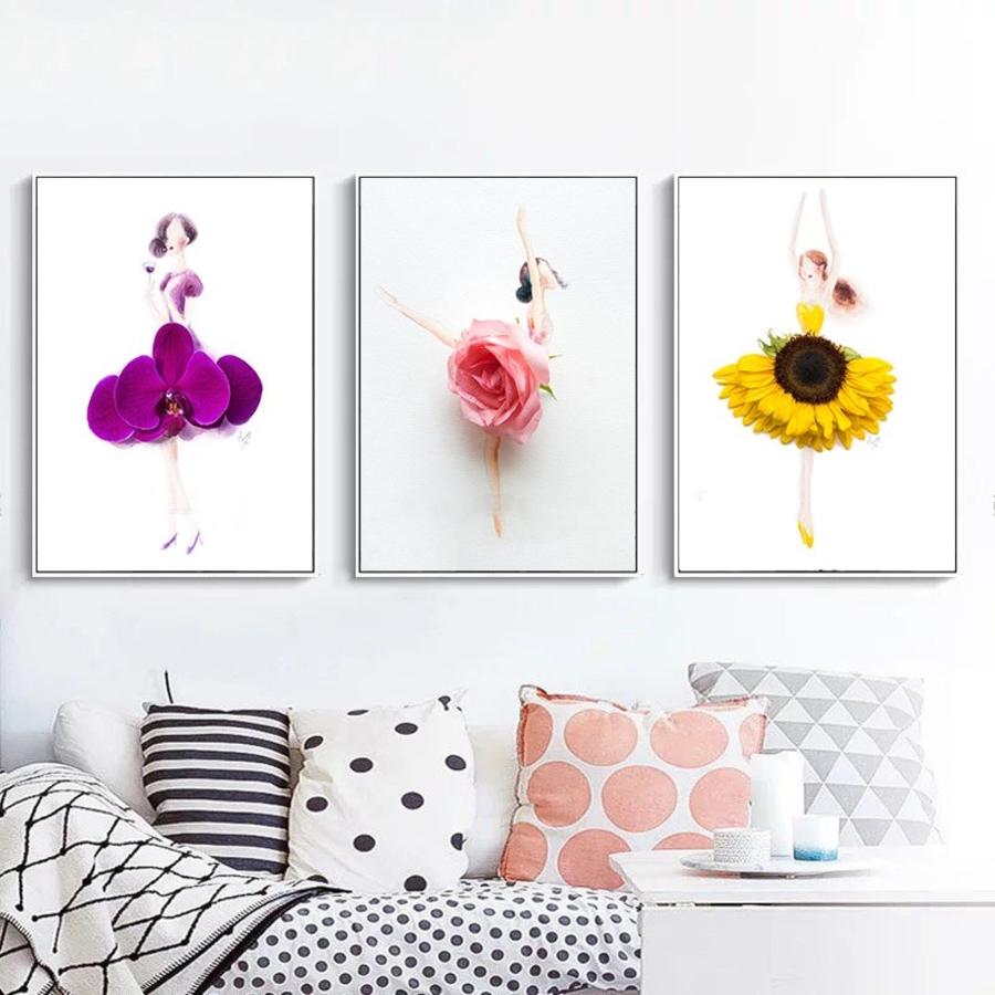 Tranh nghệ thuật trừu tượng 3 cô gái váy hoa