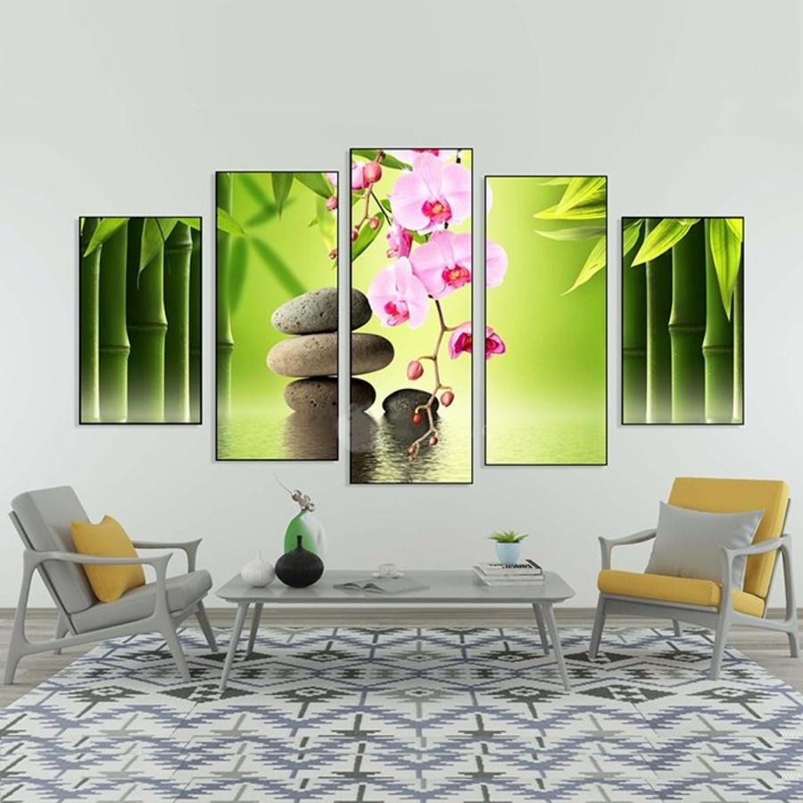 Tranh treo tường hoa lan tím và sỏi