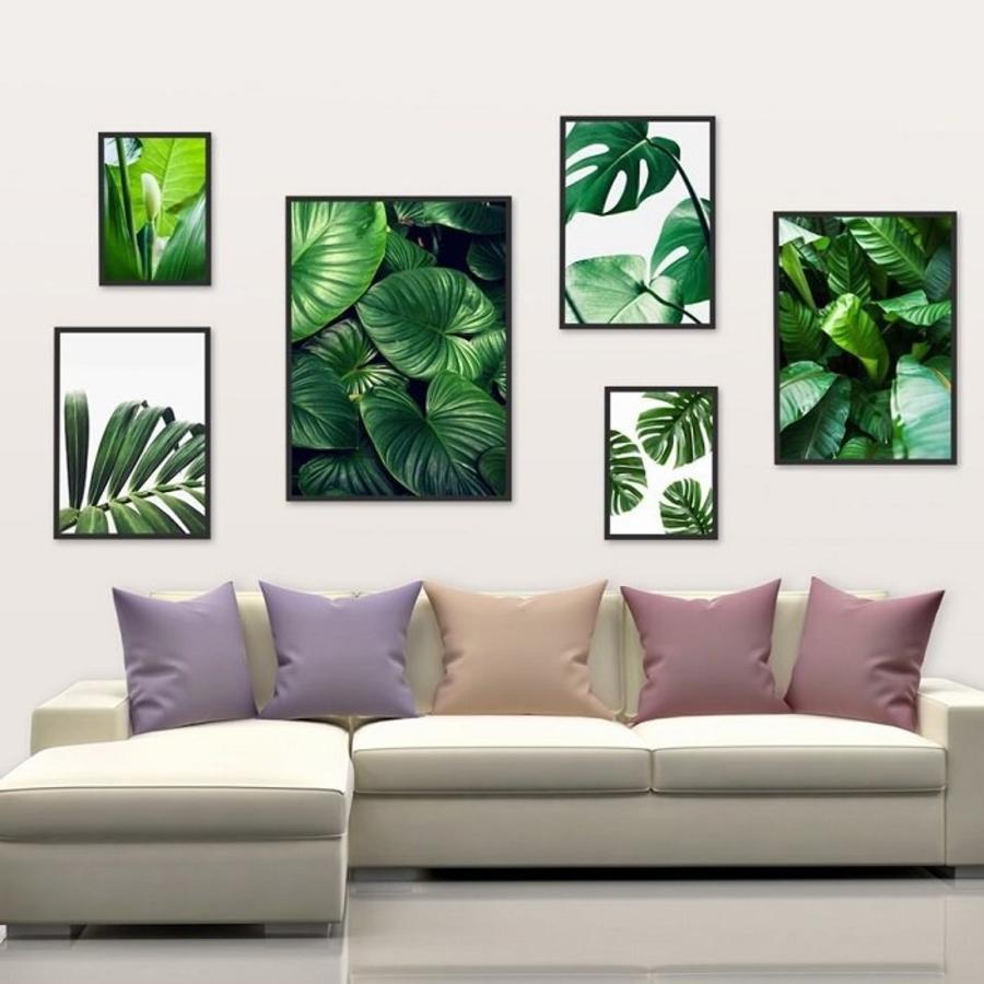 Tranh treo tường bộ 6 lá xanh nhiệt đới