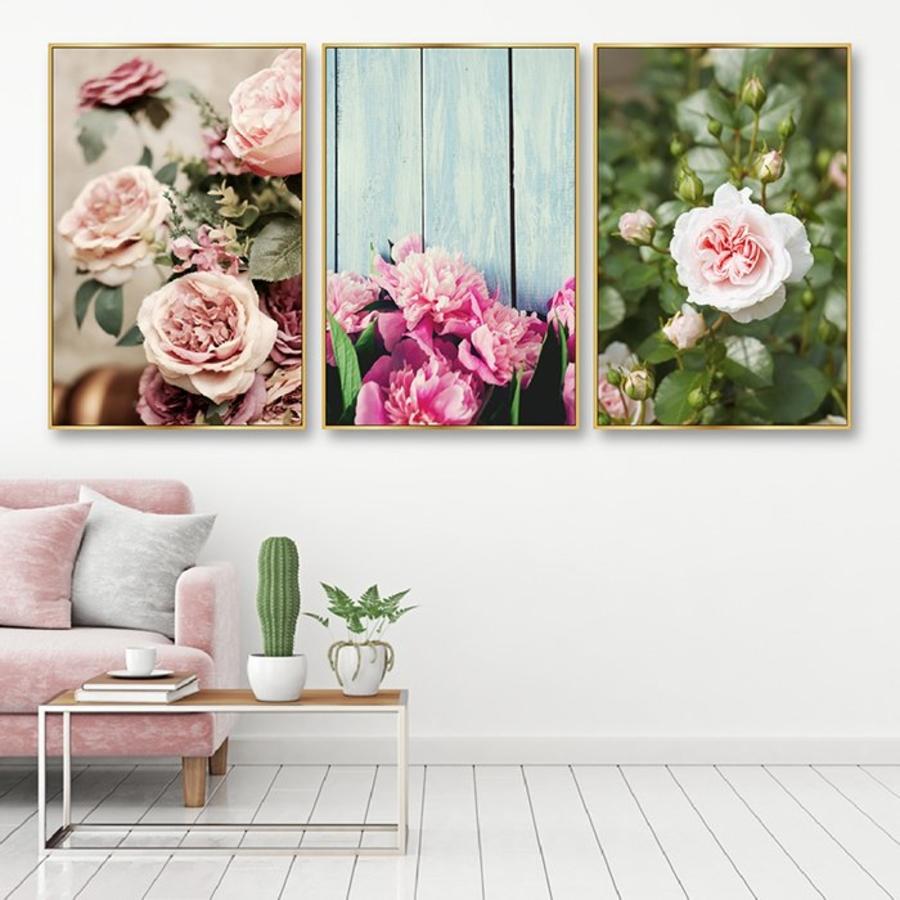 Bộ tranh treo tường hoa hồng khoe sắc
