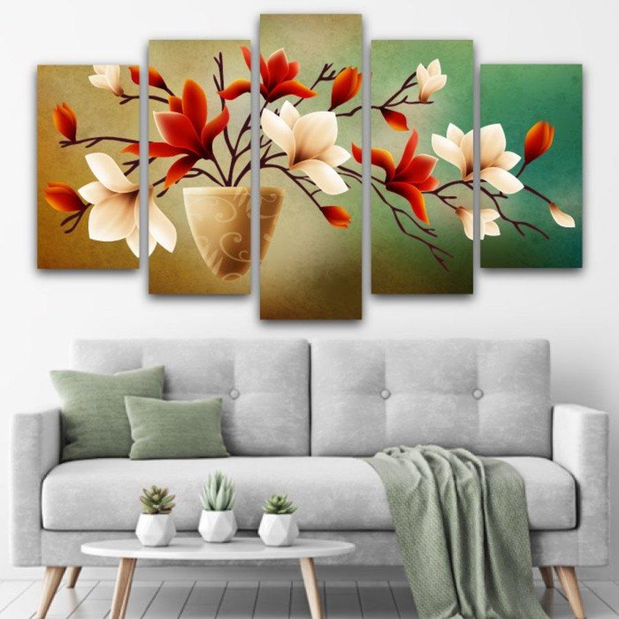 Bộ tranh treo tường hoa lan nở phú quý cách điệu đỏ trắng