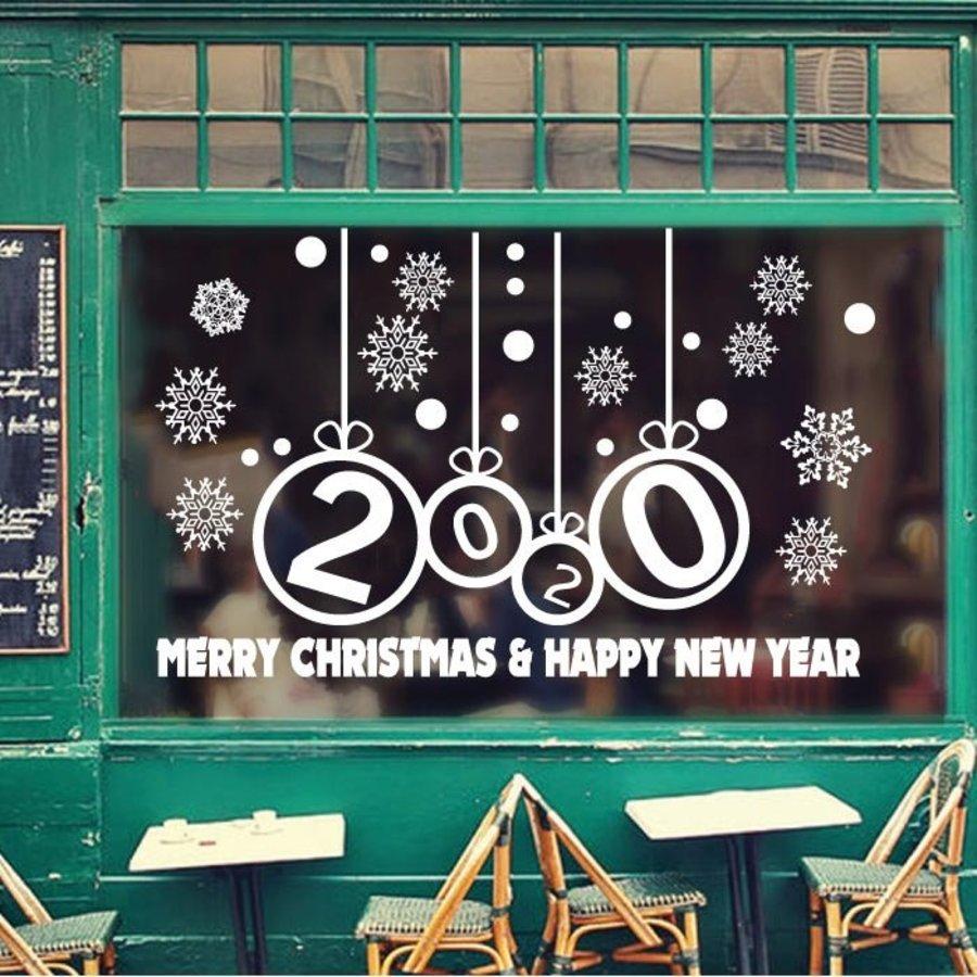 Decal Noel và chúc mừng năm mới 2020 chữ trắng