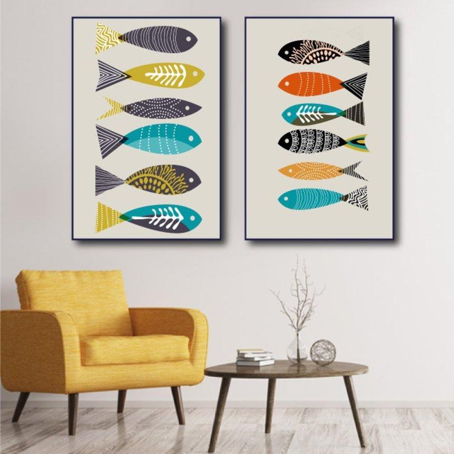Tranh nghệ thuật trừu tượng 12 con cá sắc màu