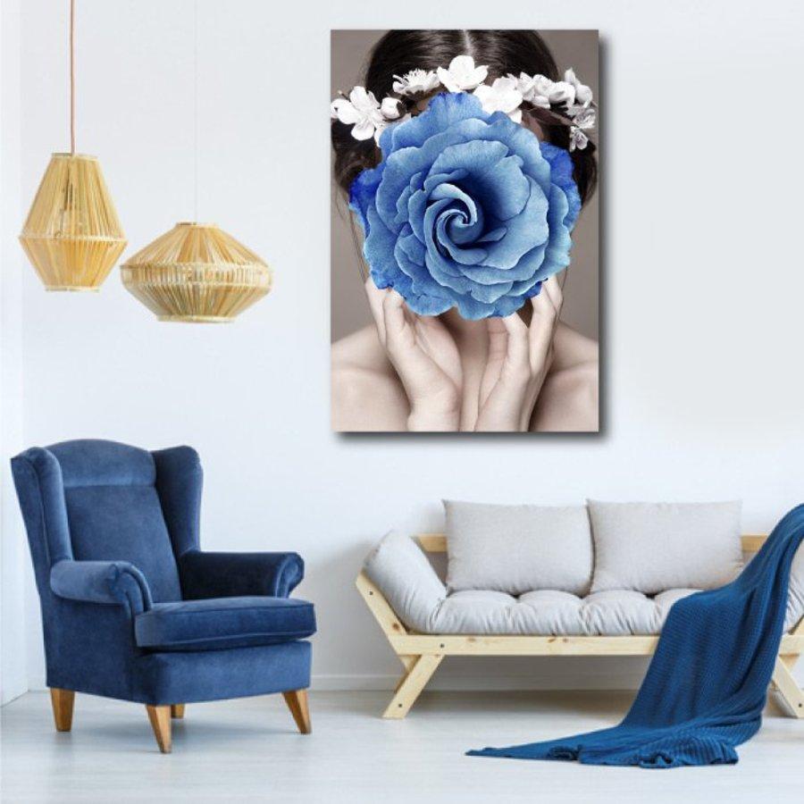 Tranh treo tường cô gái hoa xanh