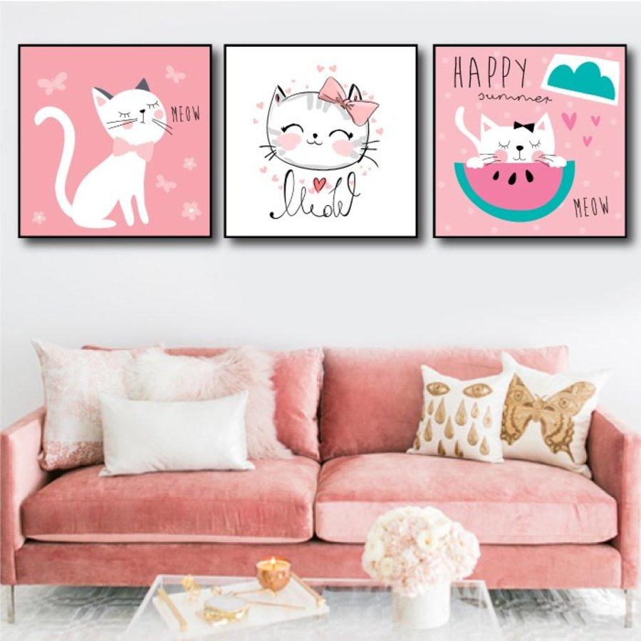 Tranh treo tường mèo hồng