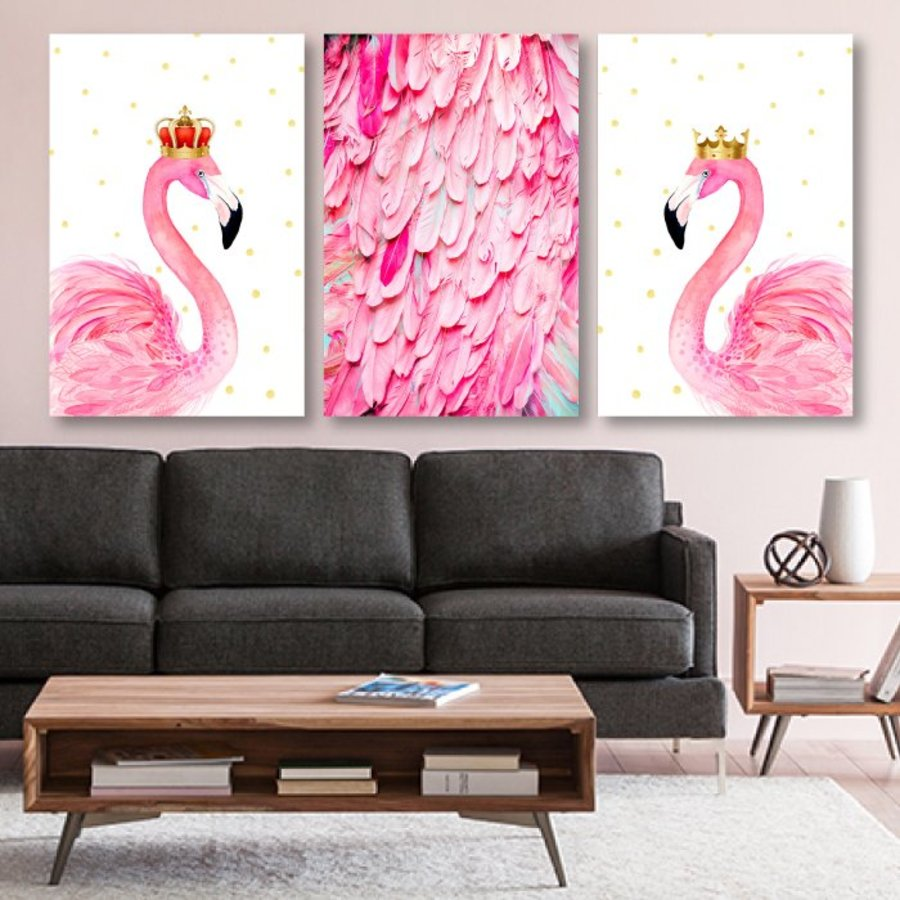 Tranh treo tường bộ đôi hồng hạc