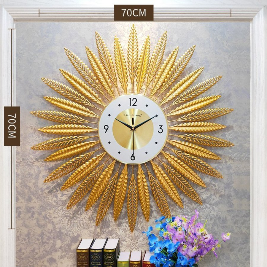 Đồng hồ đính đá bông lúa vàng