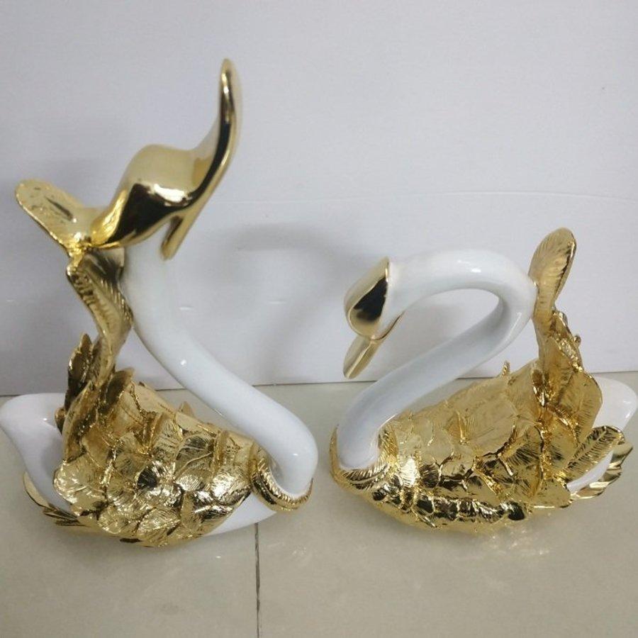 Tượng trang trí đôi thiên nga vàng