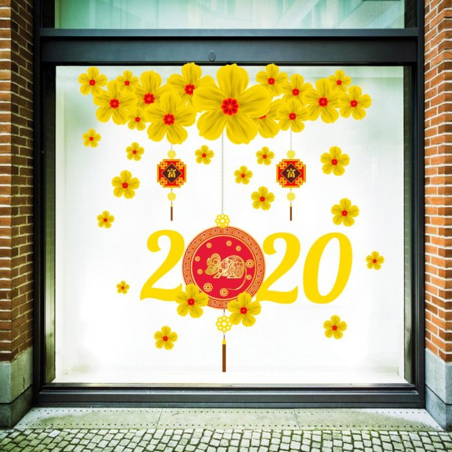 Decal trang trí tết mai vàng tài lộc 2020