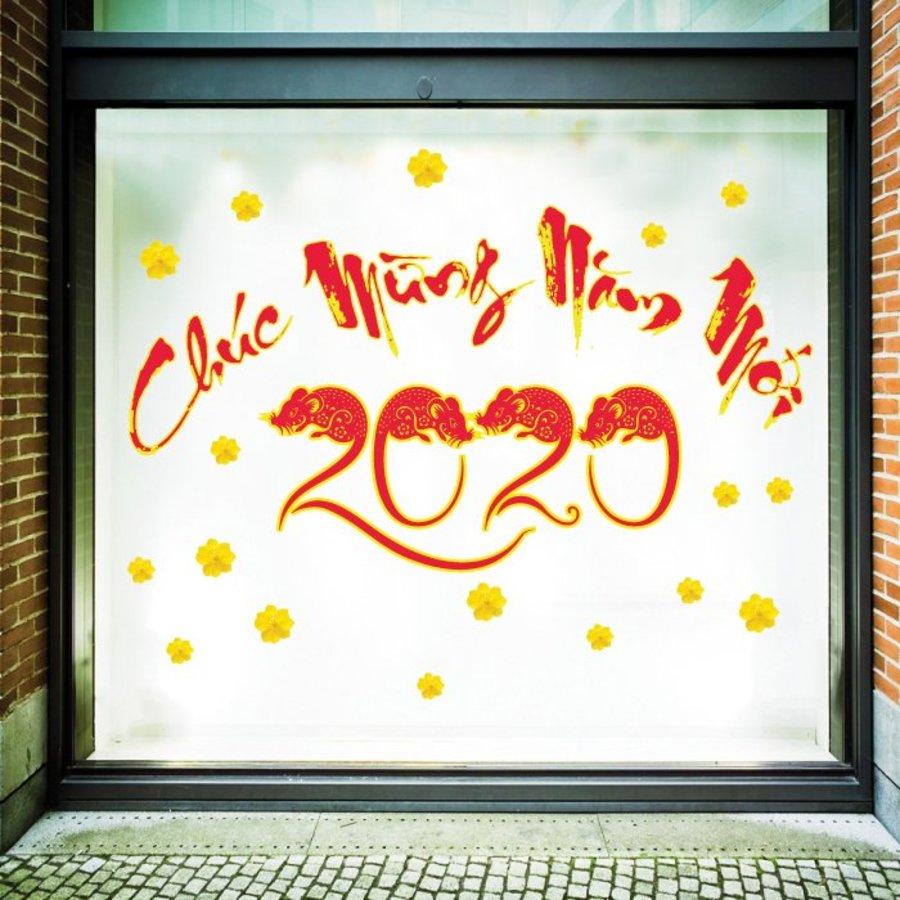 Decal Chữ Thư Pháp Chúc Mừng Năm Mới 2020
