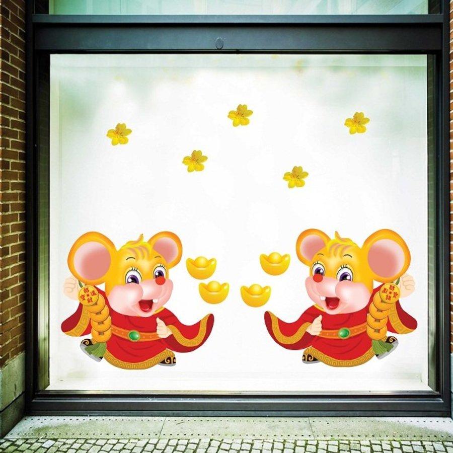 Decal trang trí tết chuột vàng phát tài