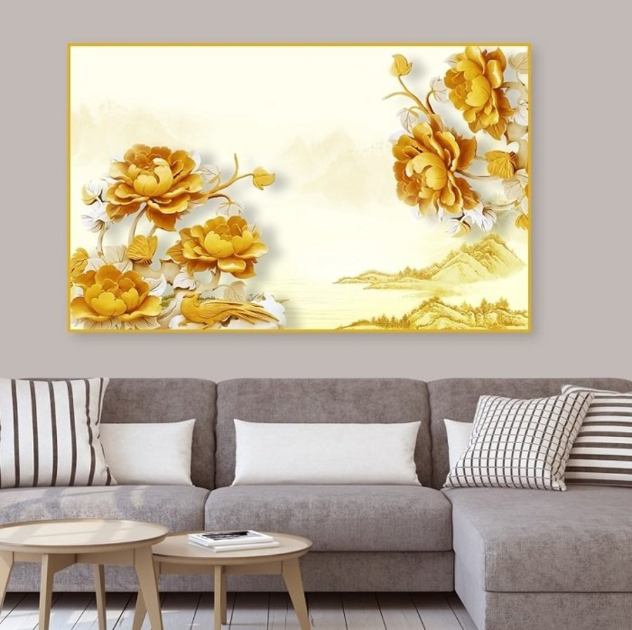 Tranh Treo Tường 3D Hoa Mẫu Đơn Vàng Và Phong Cảnh (HG)