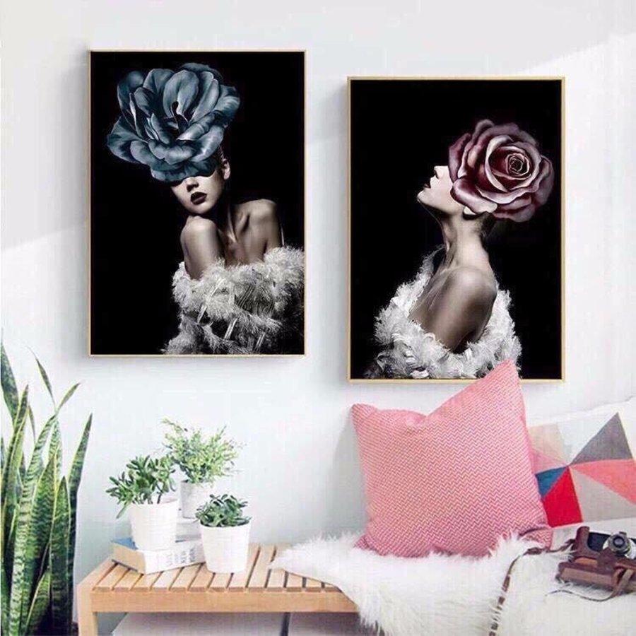 Tranh treo tường cô gái và hoa hồng