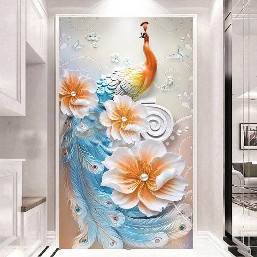 Tranh Treo Tường 3D Công Ngũ Sắc Và Hoa Ngọc Trai (HG)