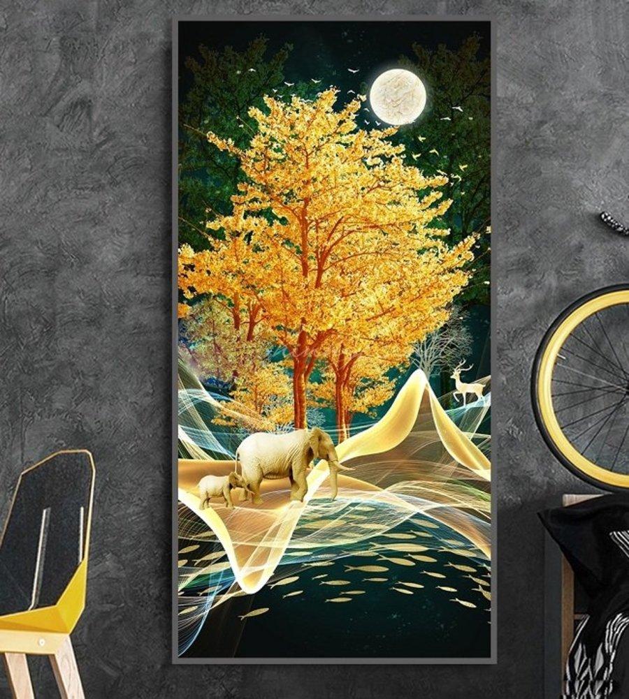 Tranh Treo Tường 3D Voi Vàng Giữa Rừng Đêm