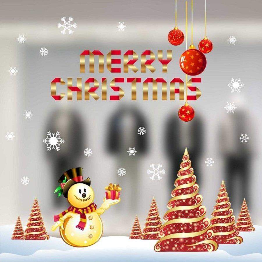 Combo Decal trang trí noel người tuyết vàng và cây thông