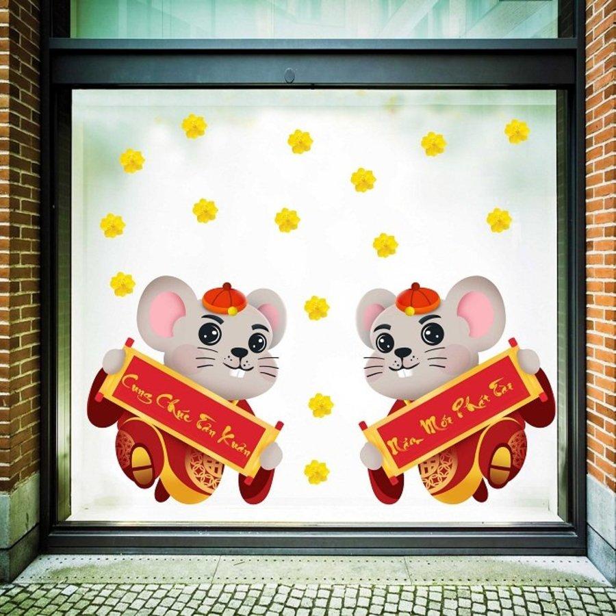 Decal trang trí tết chuột cung chúc tân xuân và năm mới phát tài 2