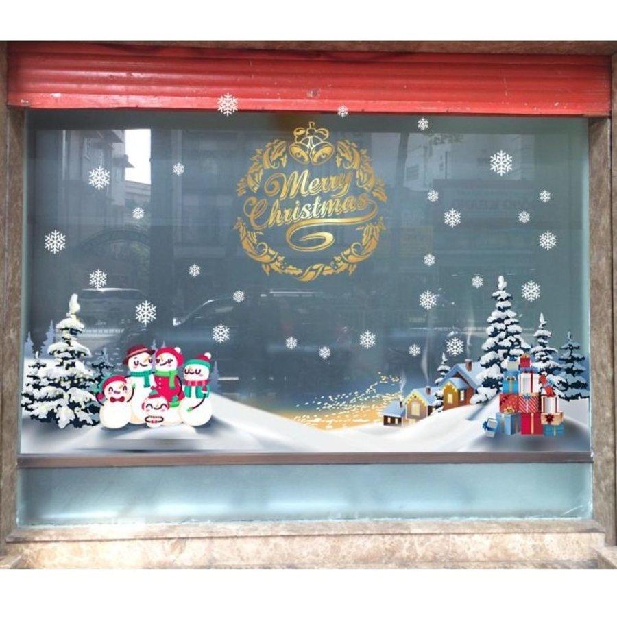 Decal trang trí noel chúc mừng giáng sinh và gia đình người tuyết
