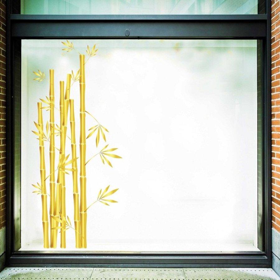 Decal trang trí tết bụi tre vàng cao 2m