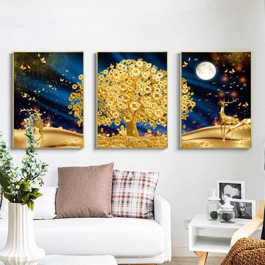 Tranh Treo Tường 3D Cây Đồng Tiền Vàng Và Đàn Hươu Vàng (HG)