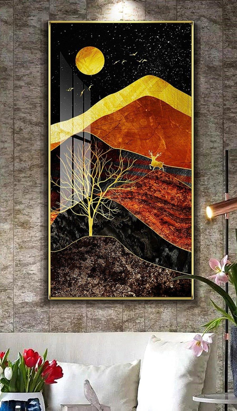 Tranh treo tường nai vàng dưới trời đêm (HG)