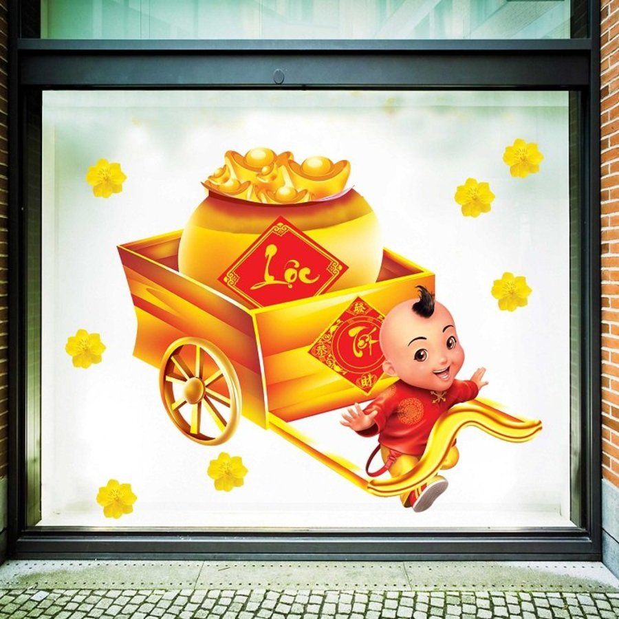 Decal trang trí tết bé và xe tiền vàng