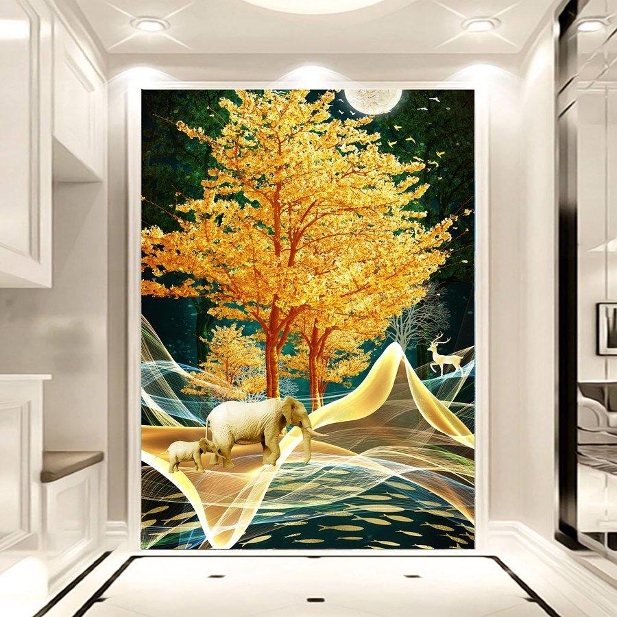 Tranh dán Tường 3D Voi Vàng Giữa Rừng Đêm
