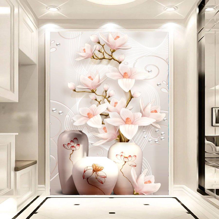 Tranh dán tường lọ hoa bằng ngọc 3D