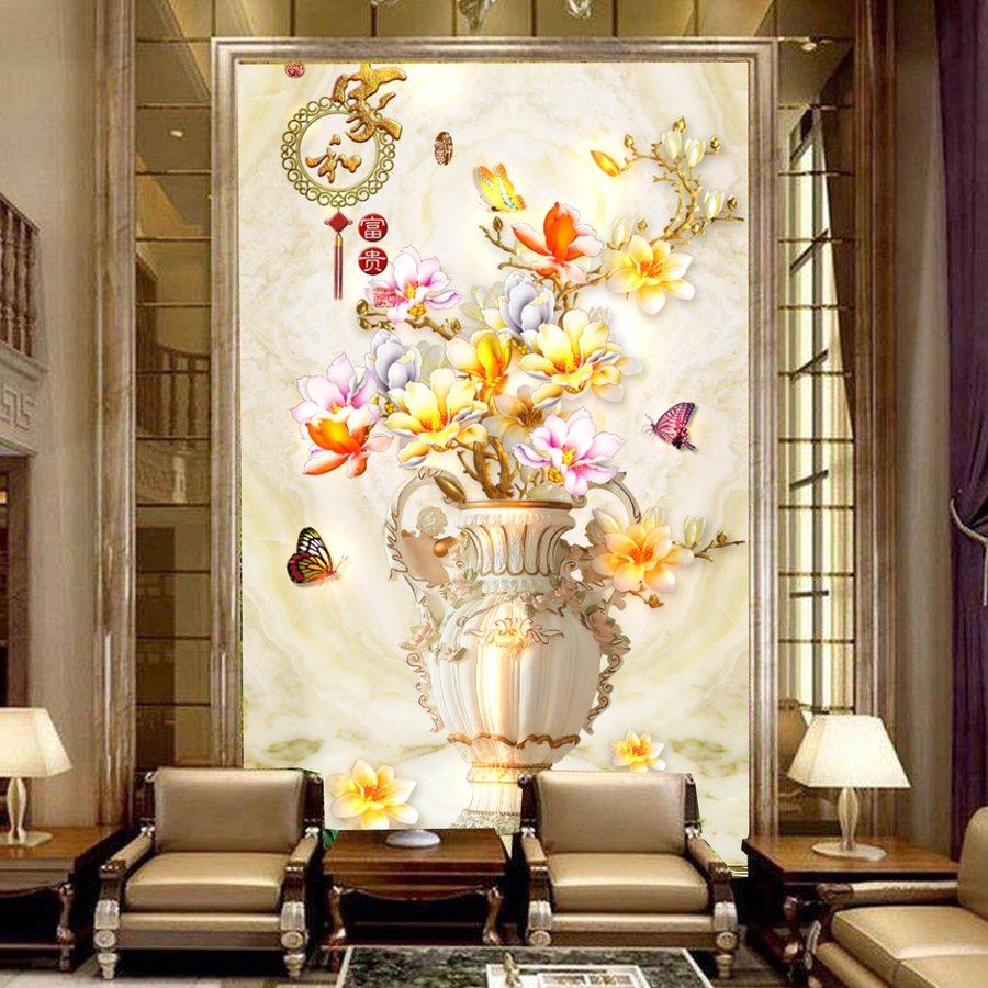 Tranh dán tường lọ hoa ngũ sắc 3D