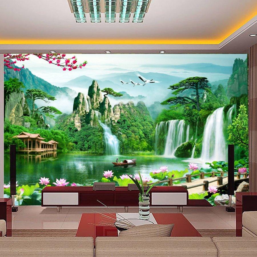 Tranh dán tường 3d sơn thủy hữu tình