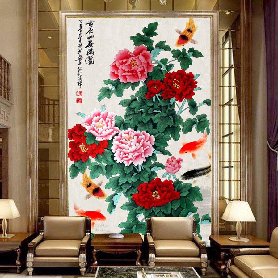 tranh dán tường cá và hoa 3D 2