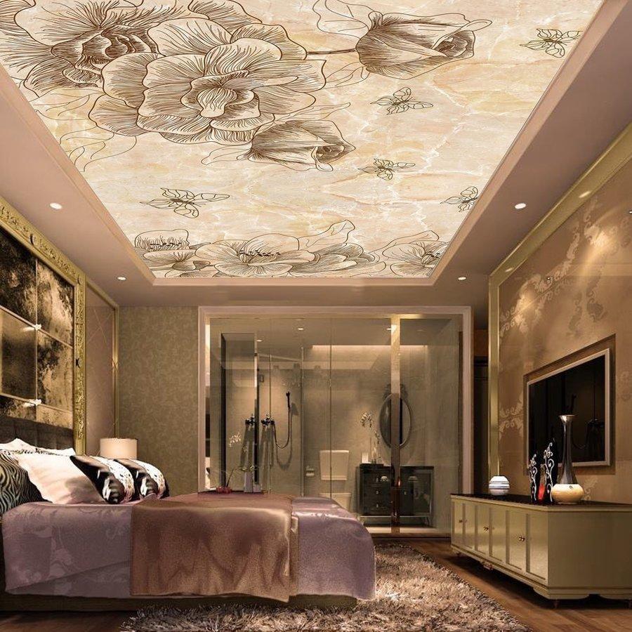 Tranh dán trần nhà 3D họa tiết hoa 2