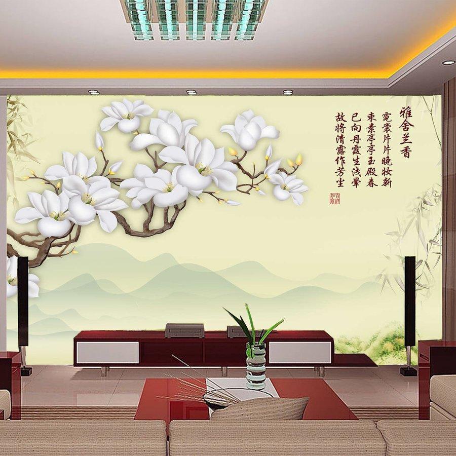 tranh dán tường hoa và sơn cảnh