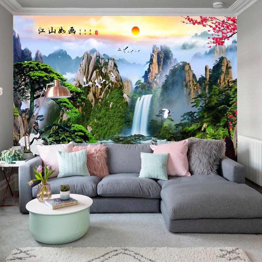 Tranh dán tường 3D cảnh Núi rừng