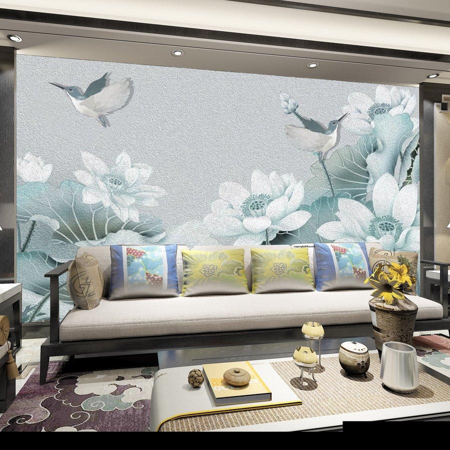 Tranh dán tường chim đậu hoa sen
